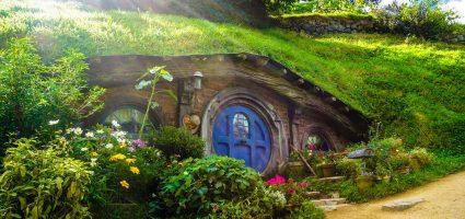 Blue door, grass house, magical entrance